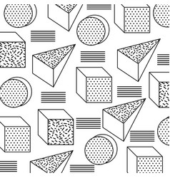 Seamless pattern with geometric 3d shapes in vector