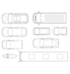 Set cars top view in outline set of vector