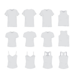set different realistic white t-shirt for man vector image