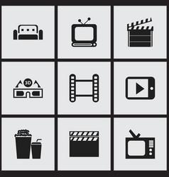 set of 9 editable cinema icons includes symbols vector image