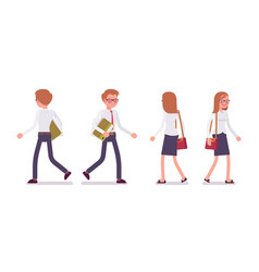 set of male and female clerk walking rear front vector image