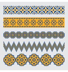 Set of pixel ethnic seamless border ornament vector