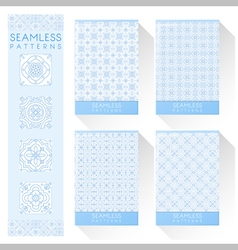 Set of simple line seamless patterns 3 vector