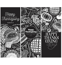set of three happy thanksgiving day design vector image