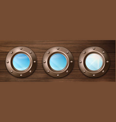ship portholes on wooden wall with sky view vector image