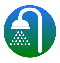 shower sign white icon in bluish circle vector image