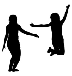 Silhouette of three young girls jumping with hands vector