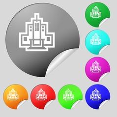 skyscraper icon sign Set of eight multi colored vector image