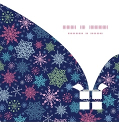 Snowflakes on night sky Christmas gift box vector