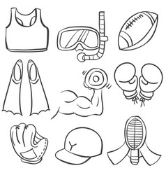 Sport equipment hand draw doodles vector