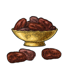 Sweet dates fruit in bowl black vector