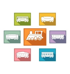 Train set for passenger or cargo industry vector