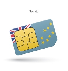 Tuvalu mobile phone sim card with flag vector image