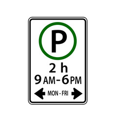 usa traffic road signsyou may park in the vector image