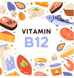 Vitamin b12 card with healthy food frame natural vector
