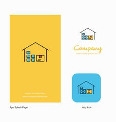 warehouse company logo app icon and splash page vector image