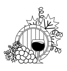wine cup barrel and grapes vector image