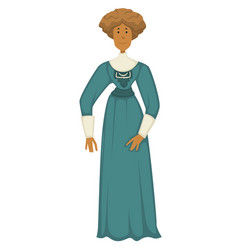 Woman in vintage clothes 1910s fashion style vector