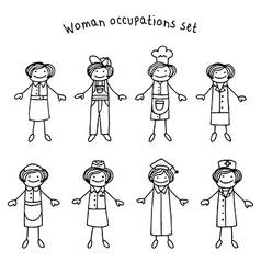 Woman occupations set vector image