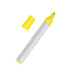 Yellow felt-tip pen on white background vector