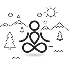 Yoga at mountains and trees vector