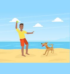 young man walking and playing ball with dog on vector image