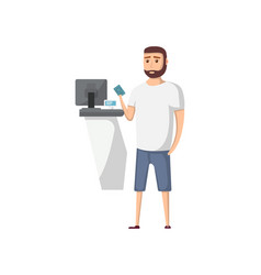 Young travel man with passport near ticket office vector