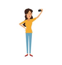 Young woman cartoon taking selfie vector