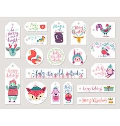 Christmas gift tags set hand drawn style vector image
