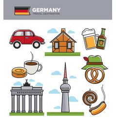 germany travel tourism landmark symbols and vector image vector image
