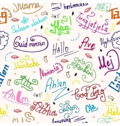 seamless texture greetings in different languages vector image