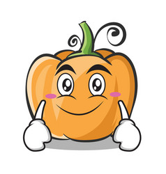 smile face pumpkin character cartoon style vector image