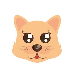kawaii face wolf animal fun vector image vector image
