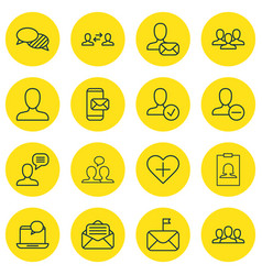 set of 16 communication icons includes favorite vector image vector image