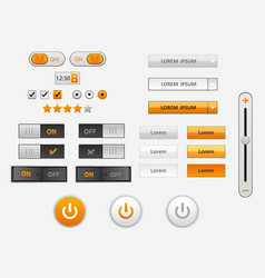 set of flat design ui and ux elements for website vector image