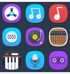 Set of sound and music mobile icons in flat design vector image vector image