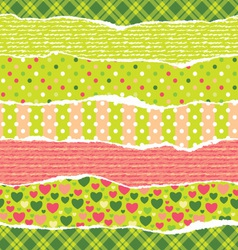 Torn wrapping paper with christmas patterns vector