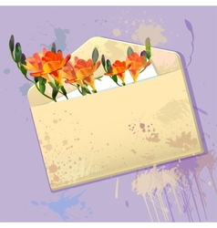 Violet card with grunge envelope and flowers vector image vector image