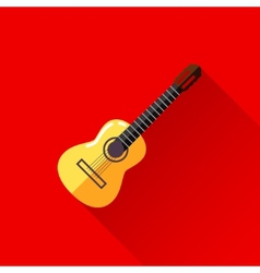 with guitar in flat style design with long shadow vector image