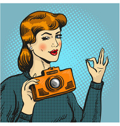 woman taking photo in pop vector image
