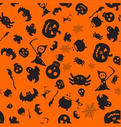 halloween orange pattern vector image vector image