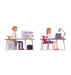 set of happy male and female clerk sitting at vector image vector image