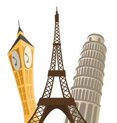 eiffel tower pisa tower and big ben vector image