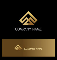 gold shape arrow geometry abstract company logo vector image vector image