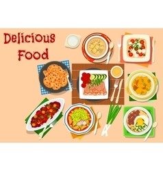 Lunch dishes icon for healthy food design vector image vector image