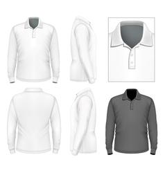 Mens long sleeve polo-shirt design template vector image vector image