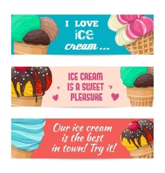 Set of banners with ice-cream vector image vector image