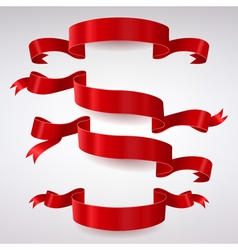 Set of Red Satin Ribbons vector image vector image