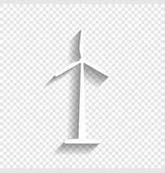 wind turbine logo or sign white icon with vector image