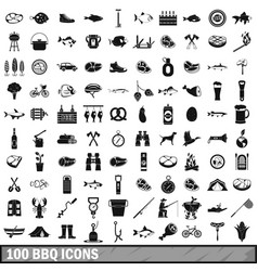 100 bbq icons set simple style vector